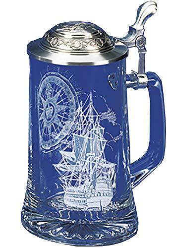 Nautical Stein German Beer Glass Stein w/Anchor Pewter Lid ()