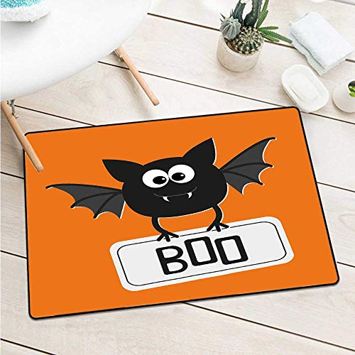 Halloween Welcome Door mat Cute Funny Bat with Plate Boo Fangs Scare Frighten Seasonal Cartoon Print Door mat Floor Decoration W15.7 x L23.6 Inch Orange Black White]()