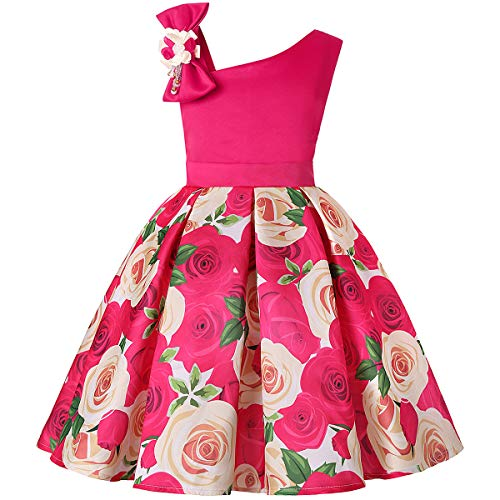 Baby Girl Rose Dresses 2-3 Years Old Lace Ruffle Bridesmaid Dresses for Teens Sleeveless Knee Length Summer Frock for Girls Size 2 Ball Gown Pageant Flower Dresses for Children Summer (Rose 100)
