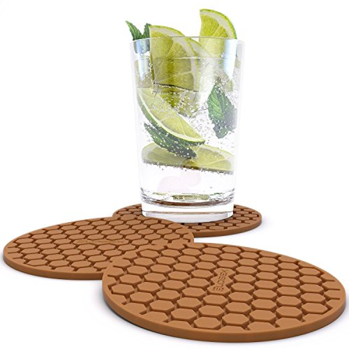 Glogex Brown Silicone Drink Coaster Set of 8,  Prevents Furniture and Tabletop Damages, Absorbs Spills and Condensation ()