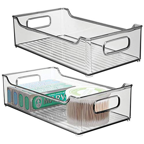 Lotion Gray - mDesign Stackable Plastic Bathroom Vanity Storage Bin, Handles - Organizer for Hand Soap, Body Wash, Shampoo, Lotion, Conditioner, Hand Towel, Hair Brush, Mouthwash - 14.5