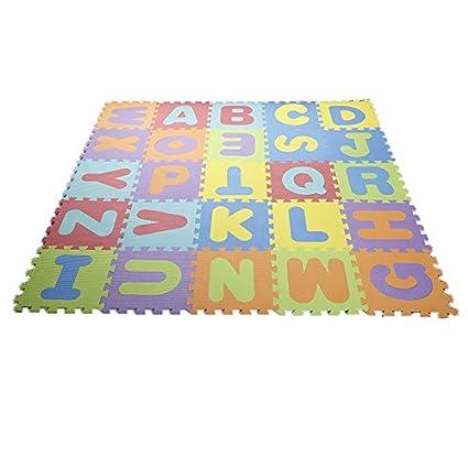 Popsparkk Puzzle Tapis Avec Chiffres Et Lettres Pour Enfants Et Bebe