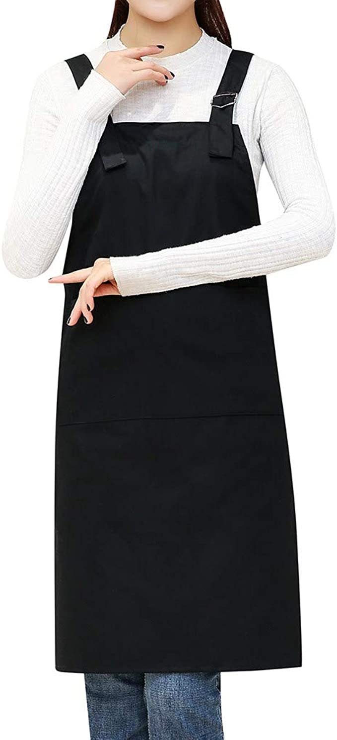 1 new black server apron 3 pocket Bib V-Neck waist waiter waitress restaurant