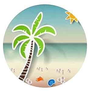 alfombrilla de ratón verano, playa de fondo con el árbol de palma conjunto pegatinas verano - ronda - 20cm