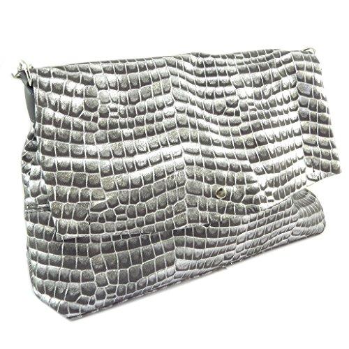 Borsa in pelle fatta a mano Babouchkagrigio argento - 40x25x15 cm.