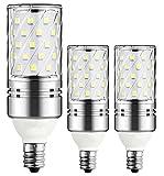 E12 LED Bulbs,12W LED Candelabra Light Bulbs 100 Watt Equivalent, 1200lm,Warm White 3000K LED Chandelier Bulbs, Decorative Candle Base E12 Non-Dimmable LED Lamp, 3 Pack