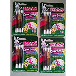 No Mess Easter Egg Coloring Kit, PAAS COLOR SNAPS, (4 PACK) Painting Eggs with Food Safe Dyes, Perfect for Groups of Kids, Allows Artistic Drawing Designs