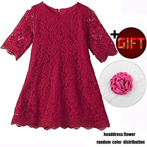 Big Dresses for Girls 7-16 Lace Flower Vintage Dress Size 9-10 Big Girl Halloween Christmas Party Pageant Dress Sleeveless Floor Length Bridesmaid Princess Dress for Juniors (Wine Red170)