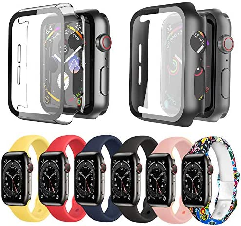 [8 Items] Ferilinso 6Pcs for Apple Watch Bands 44mm [Soft Silicone Sport Strap] + 2Pcs Apple Watch Series 6/Series 5/Series 4/SE 44mm Hard PC Case with Tempered Glass Screen Protector for iWatch 44mm