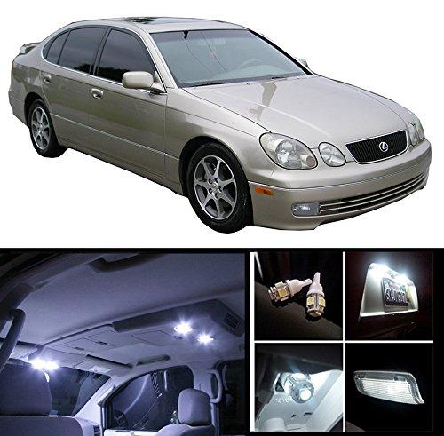 EliteTech 1998 - 2005 Lexus GS300 GS400 Premium LED Package (White) - Interior + License Plate + Vanity (14 pieces) 1998 1999 2000 2001 2002 2003 2004 2005