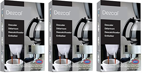 (Urnex Dezcal Coffee and Espresso Descaler and Cleaner - 3 Pack - Activated Scale Remover Use with Home Coffee Brewers Espresso Machines Pod Machines Capsule Machines Kettles Garmet Steamers)