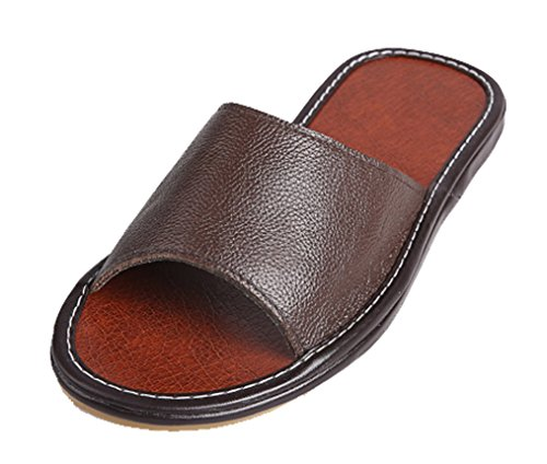 Toe Slippers Summer Open Leather Mens Slippers Solid Brown Cattior FwYqpz7I
