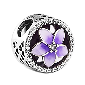 CKK DIY Floral Fit for Pandora spacers Bracelet 925 Sterling Silver Colorful Flower Series Charms Bead for Women Jewelry