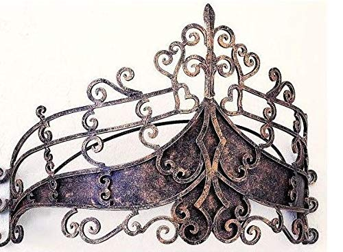 Octorose  Metal Wall Teester Bed Canopy Drapery Bed Crown Hardware (26x12x16inch) (Tiara-AntiqueGold) (Canopy Antique Beds)