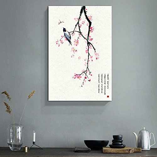 Chinese Ink Painting Style Red Blooming Flowers and Bird