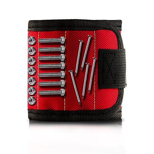 Accmor Magnetic Wristband With 5 Super Powerful Magnet For Holding Tools Screws  Nails  Drill Bits  Red