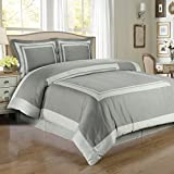 Hotel Gray and Light Gray 3-Piece Full / Queen Comforter Cover (Duvet-Cover-Set) 100-Percent Egyptian-Cotton, 300-Thread-Count