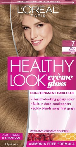 L'Oreal Paris Healthy Look Creme Gloss Color, Dark Blonde/Latte 7 (Pack of 3)
