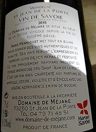 Vino artesanal Saboya tinto Mondeuse, AOP 2018, 6 botellas de 75cl.