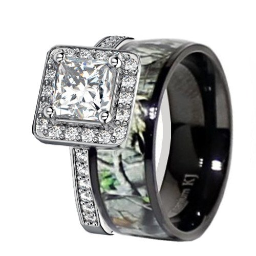 Hers Titanium Camo and Sterling Silver Halo Engagement Wedding Rings Set (Size Women 9)