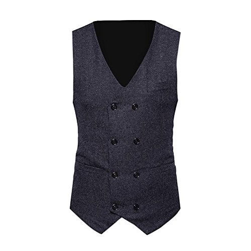 Clothes For Men Charberry Suit Vest Striped Double Breasted Formal Tweed Check Waistcoat Retro Slim Fit Suit Jacket by Charberry (Image #1)