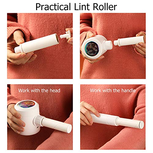 Kenpiko Lint Remover with Lint Roller for Clothes, Rechargeable Fabric Shaver, 2 in 1 Lint Shaver, Sweater Shaver Fabric Fuzz Remover with Trim and Stick Function, Sweater Pill Remover for Clothes