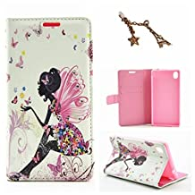 Uming L Rhinestone Pretty Girl Series Colorful Pattern Print PU-Leather case for IPhone6 IPhone6S Iphone 6 Iphone 6S PU Flip Leather Holster with Bling Shiny Glitter Diamond Stand Stander Holder Hand Free Credit Card Slot Wallet Hasp Magnet Magnetic Button Buckle Shell Protective Mobile Cell Phone Case Cover Bag + 1 x Anti Dust Plug - Butterfly Elf
