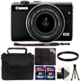 Canon EOS M100 Mirrorless Digital Camera with 15-45mm Lens (Black) + 49mm UV Filter + 32GB Memory Card + Card Holder + Case + Mini Tripod + 3pc Cleaning Kit