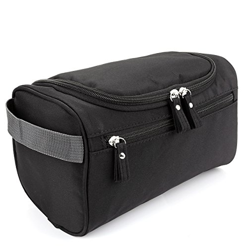 (Men's Travel Toiletry Bag, CozyCabin Hanging Waterproof Travel Case Shaving & Makeup Accessories Organizer with Large Capacity - for Gym, Vacation, Business Trip (Black))