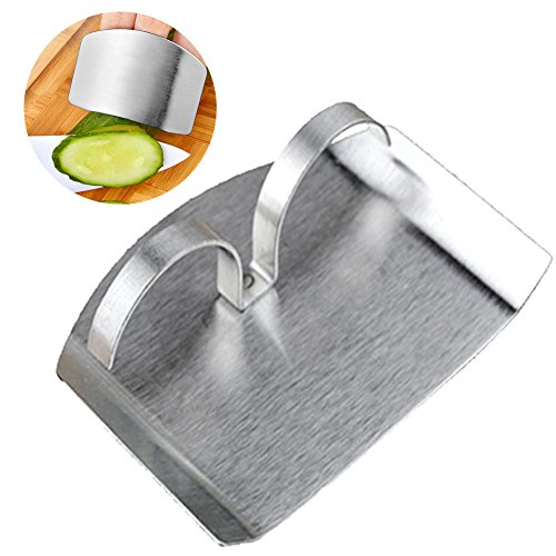 IBEET Stainless Steel Finger Protector, Safe Chop Hand Guard Slice Kitchen Tool, 2.3 Inches 2 Rings