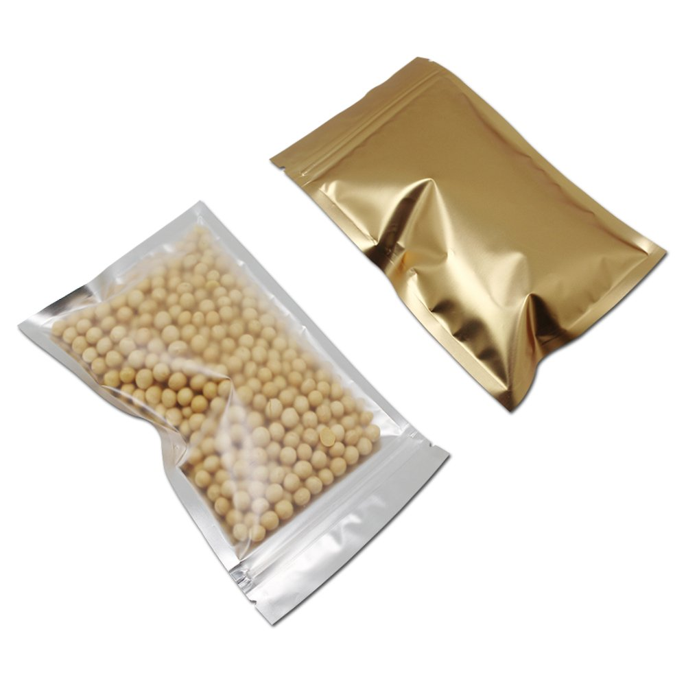 大型収納袋 食品貯蔵用 ゴールド 透明 ジッパーシール フラット コーヒー キャンディー 包装ポーチ ジップロック マイラー プラスチック 食品貯蔵バッグ 18 x 26 cm (350) B07DXWR3QY  350