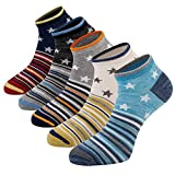 Mens Casual Low Cut Ankle Socks Crazy Funky Patterened Dress Socks Crew Quarter Athletic Cotton Socks(Star Pattern - 5Pairs)