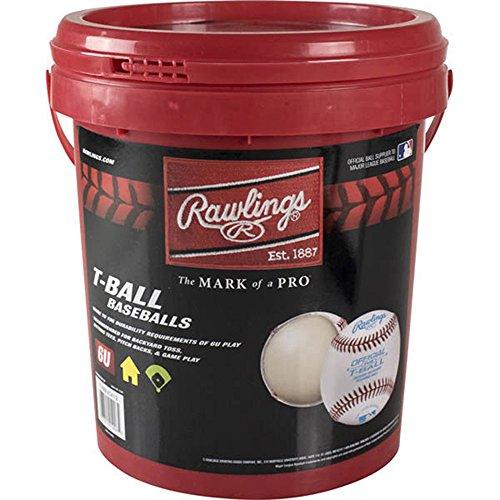 Rawlings Baseball Bucket Sponge Rubber Center Synthetic Cover Baseballs, Youth T-Ball 6U (12 Balls), TVBBUCK12 ()