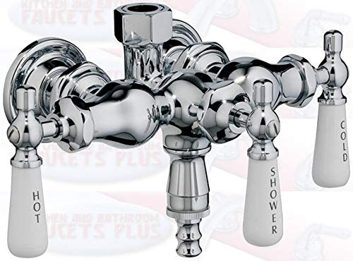 Chrome Clawfoot Tub Diverter Faucet with 3 Porcelain Lever Handles