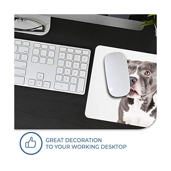 Comfortable Mouse Mat - American Pit Bull Staffy Terrier Dog 23.5 x 19.6 cm (9.3 x 7.7 inches) for Computer & Laptop, Office, Gift, Non-Slip Base - RM12382 5