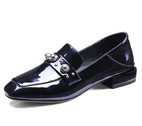 233decc4 Zapatos de mujer Charol Tacones cerrados Mocasines planos Blanco negro  Tamaño 35 a 41 , Black