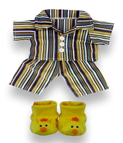 Build your Bears Wardrobe 15-Inch Clothes Fit Build Bear PJ's with Duck Slippers (Yellow)
