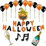 Halloween Balloons Decorations Latex Aluminum Film Balloon Set Happy Halloween Bunting Banner, Pumpkin Garland for Halloween Scary Scene Party Decorations