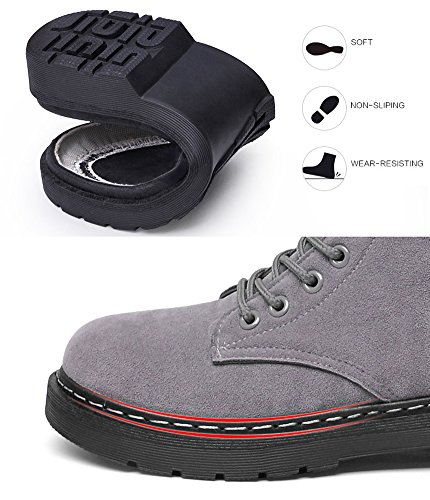 Cystyle Warm Gefütterte Stiefel Damen Schnürstiefeletten Worker Boots Block Absatz Stiefeletten Braun