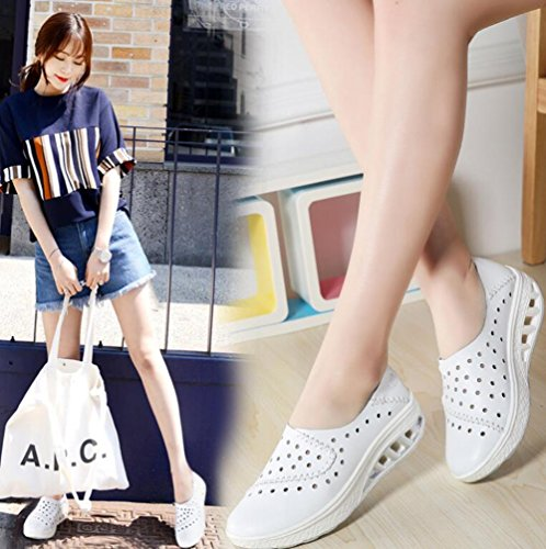 Verano Mujer Blanco tama con 39 Casuales Zapatos 2018 Cuero Zapatos Resistentes Marea Color de Desgaste Guisantes Zapatos de de para al Orificios de o Zapatos Zapatos Mujeres Zapatos Swq4pY5
