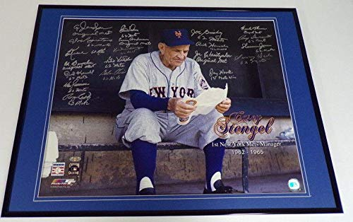 1962 1st New York Mets Team Signed Framed 16x20 Casey Stengel Photo - Steiner Sports Certified - Autographed MLB Photos