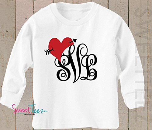 cb7257c429 Amazon.com: Personalized Valentine's Day Shirt Monogram Shirt for Girl with  Heart Valentine's Day Gift: Handmade