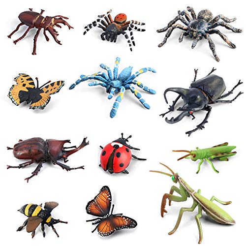 Bug Toys Figurines VOLNAU 12PCS Insect Toys Figures for Kids Toddlers Educational Bee Beetle Mantis Spider Ladybug Butterfly Plastic Model, BPA Free from Volnau