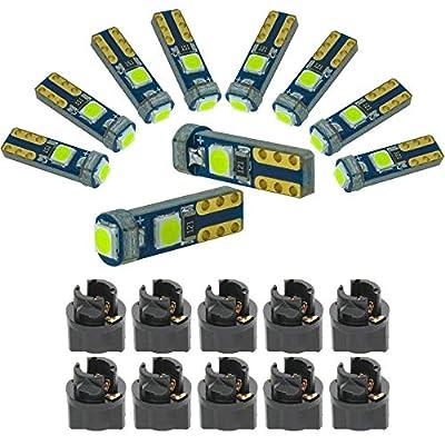 DODOFUN Ice Blue T5 37 74 LED Bulb with Twist Lock Socket PC74 PC37 Dashboard Instrument Panel Gauge Cluster Light Pack of 10: Automotive