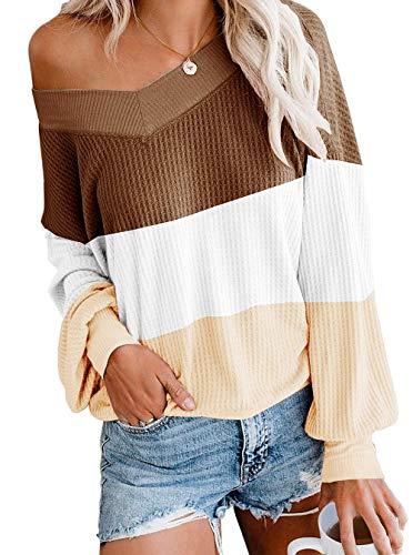 ZIYYOOHY Damen Pullover Sweatshirts V Ausschnitt Schulterfrei Bluse Oberteile Oversized Top