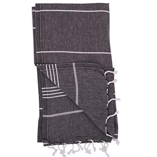 (Essential Turkish Towel Peshtemal in 100% Cotton for Beach Bath Swimming Pool Yoga Pilates Picnic Blanket Scarf Wrap Hammam Fouta Turkish Bath Towels Beach Towel (Black))