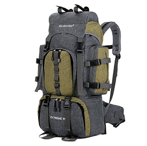 UNISTRENGH 55L Backpack Internal Frame Hiking Backpacking Lightweight Water Resistant Nylon Travel Packs with Rain Cover