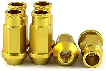 tama/ño M12 Juego de 20 tuercas de tuerca de carreras de 50 mm LILAUTO Racing color amarillo y dorado