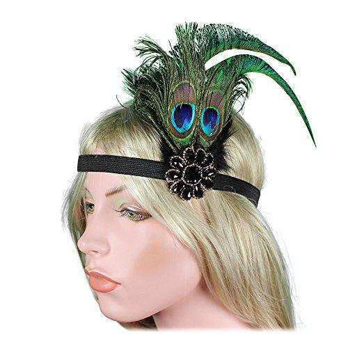 Retro 1920s Flapper Headband  Headpiece Peacock Feather Headwear