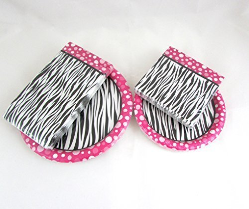 Pink Black Zebra Party Decoration Tableware Napkins Paper Plate Bundle -